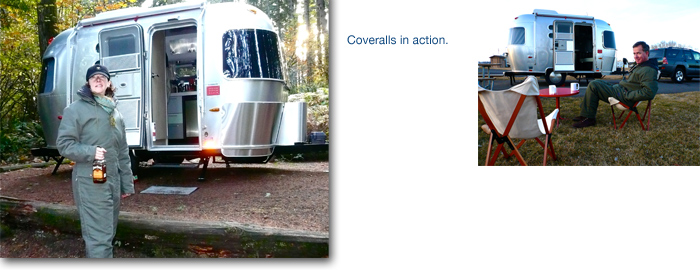Airstream trailer travel in camping coveralls