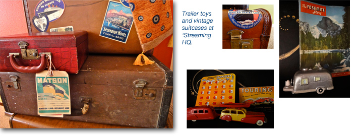 Vintage suitcases and trailer toys at the 'Streaming Airstream blog office