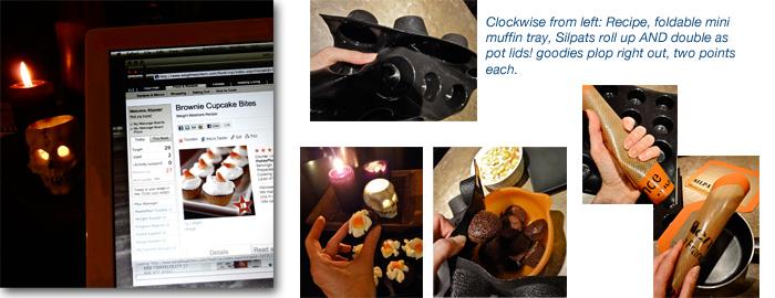 Airstream cooking, Demarle mini muffin Flexipan and Silpat baking sheet