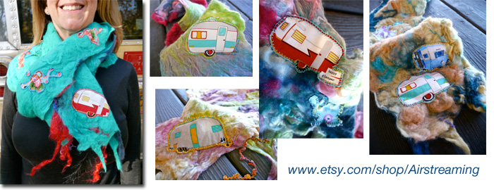 Airstream and vintage trailer Merino wool felted scarves on Etsy