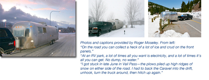 Airstream towing in winter on snow and ice