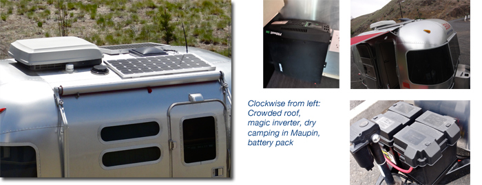 Airstream solar panel and inverter for dry camping