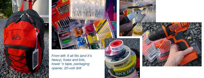 Airstream tool kit for safety, repairs, maintenance, preparedness